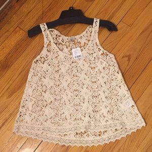 NWT-Urban Outfitters- Ecote Lace Tank- XS-Creme